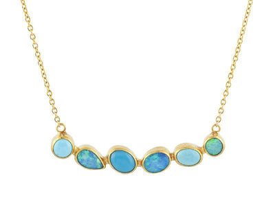 GURHAN One-of-a-Kind Pointelle Gold Necklace, Bar with Opal-Necklace-GURHAN-24k-gold-pure-gold-luxury-gold-24-karat-gold