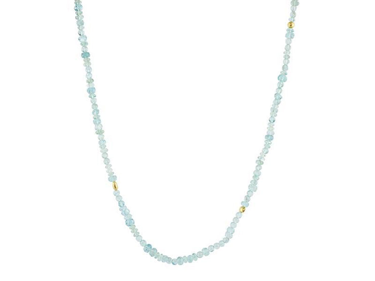 GURHAN Flurries Gold Necklace, Beaded with Apatite-Necklace-GURHAN-24k-gold-pure-gold-luxury-gold-24-karat-gold