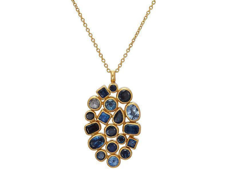 GURHAN One-of-a-Kind Pointelle Gold Necklace, Cluster with Sapphire-Necklace-GURHAN-24k-gold-pure-gold-luxury-gold-24-karat-gold