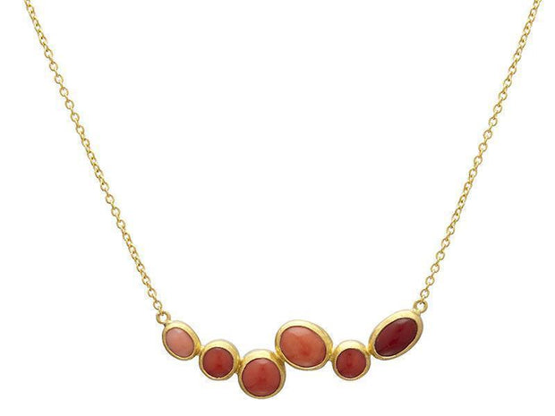 GURHAN One-of-a-Kind Pointelle Gold Necklace, Bar with Coral-Necklace-GURHAN-24k-gold-pure-gold-luxury-gold-24-karat-gold
