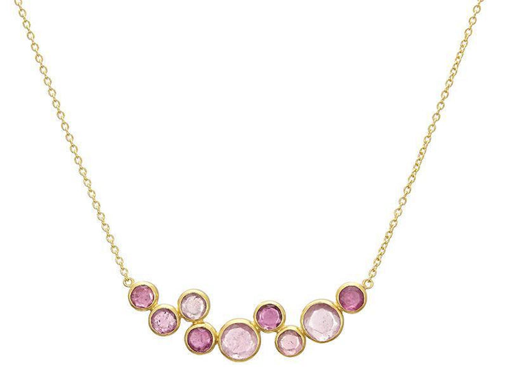 GURHAN One-of-a-Kind Pointelle Gold Necklace, Bar with Tourmaline-Necklace-GURHAN-24k-gold-pure-gold-luxury-gold-24-karat-gold