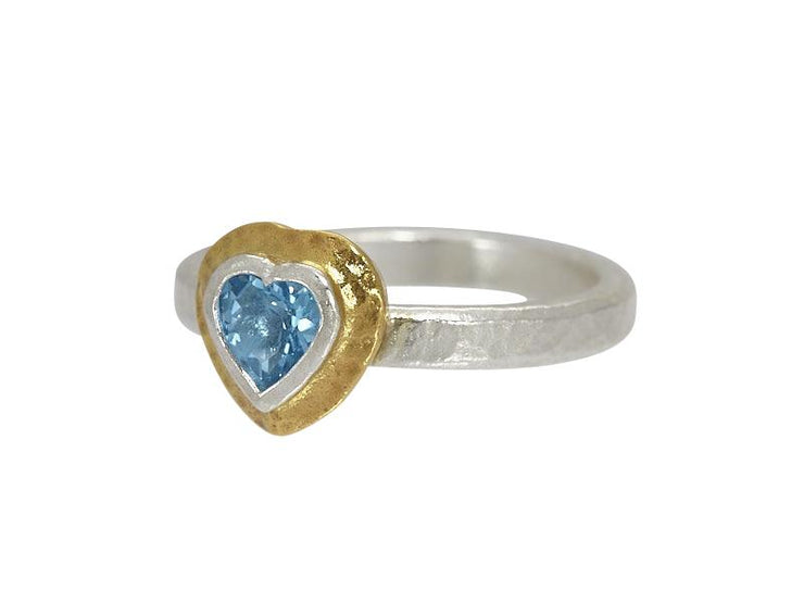 OFP  Romance Sterling Silver Ring,  Center Stone with Topaz- and 'kissed' with 24k Gold.