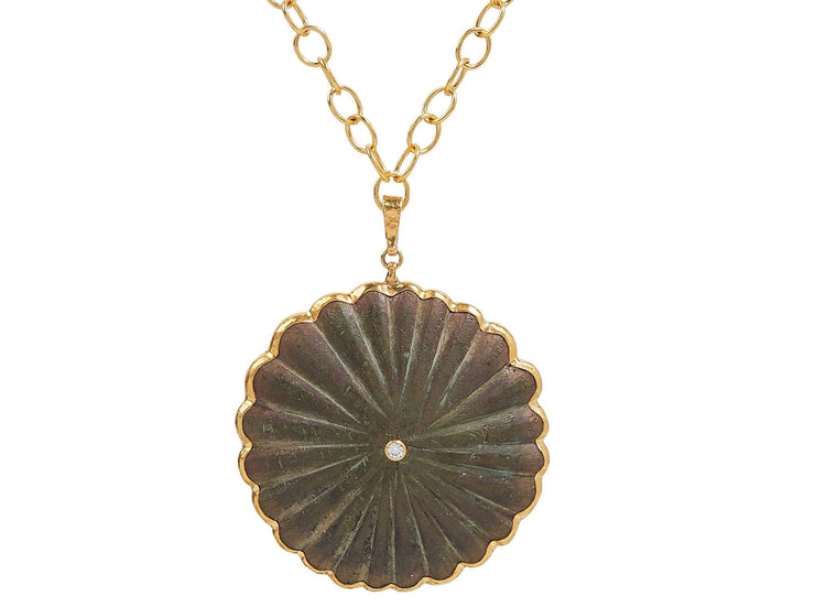 GURHAN One-of-a-Kind Antiquities Gold Necklace, Pendant with Bronze Decoration-Necklace-GURHAN-24k-gold-pure-gold-luxury-gold-24-karat-gold