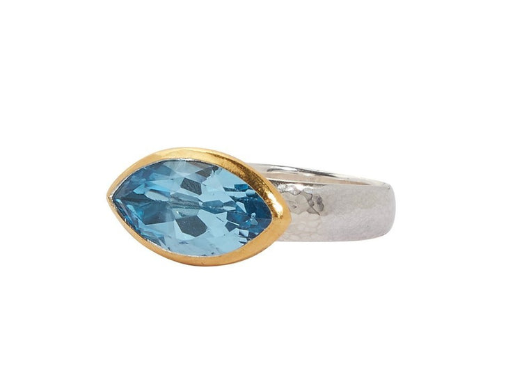 GURHAN Jewelry, Pure gold jewelry, 24karat gold jewelry, 24k gold jewelry, Sterling Silver jewelry, silver jewelry: OK-RCS6.5-SS-BT1096, One-of-a-kind Silver Galapagos ring, 'kissed' with 24K, marquise faceted Blue Topaz