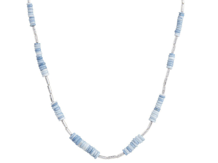 GURHAN One-of-a-Kind Flurries Sterling Silver Necklace, Station with Opal- and 'kissed' with 24k Gold.-Necklace-GURHAN-24k-gold-pure-gold-luxury-gold-24-karat-gold