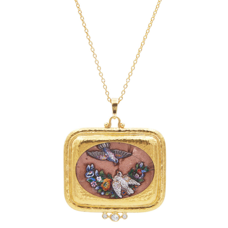 GURHAN One-of-a-Kind Antiquities Gold Necklace, Pendant with Micro Mosaic-Necklace-GURHAN-24k-gold-pure-gold-luxury-gold-24-karat-gold