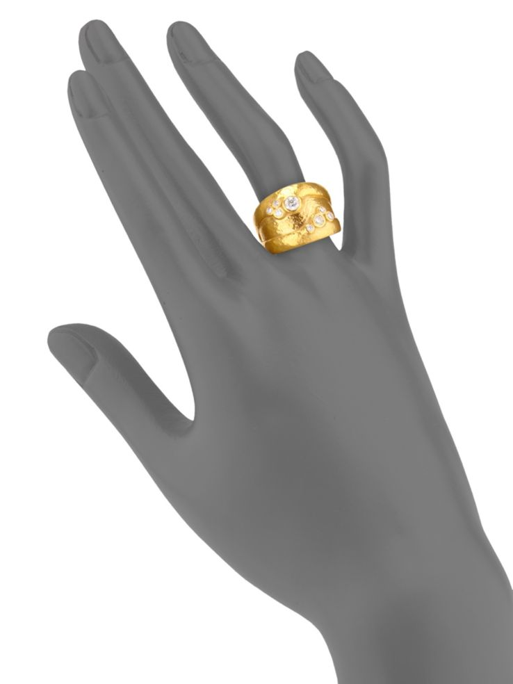 GURHAN Pointelle Gold Ring, wide Band with Diamond-Ring-GURHAN-24k-gold-pure-gold-luxury-gold-24-karat-gold