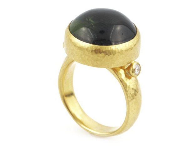 GURHAN One-of-a-Kind Rune Gold Ring, Center Stone with Tourmaline-Ring-GURHAN-24k-gold-pure-gold-luxury-gold-24-karat-gold