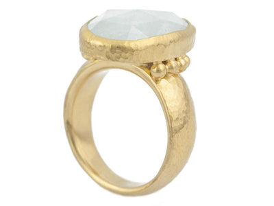 GURHAN One-of-a-Kind Elements Gold Ring, Center Stone with Aquamarine-Ring-GURHAN-24k-gold-pure-gold-luxury-gold-24-karat-gold