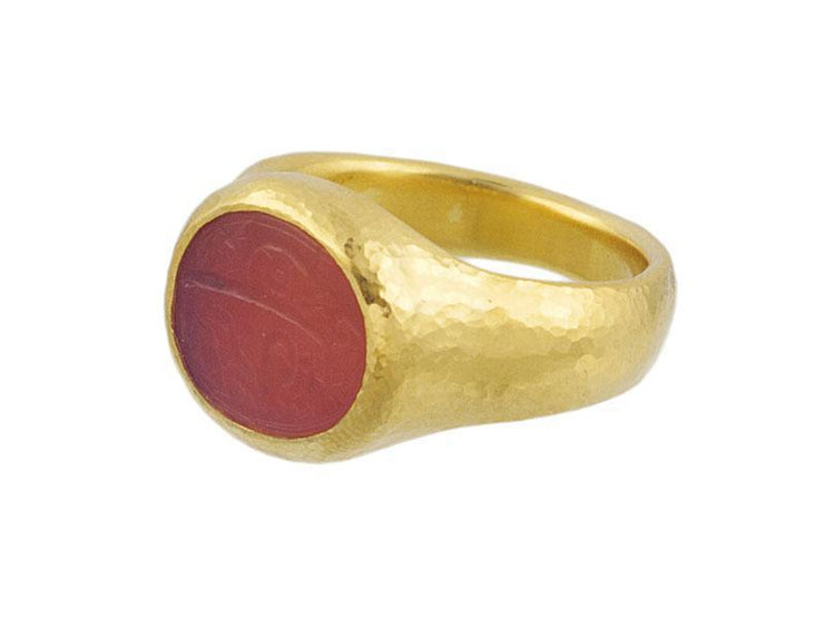 GURHAN One-of-a-Kind Antiquities Gold Ring, Center Stone with Intaglio-Ring-GURHAN-24k-gold-pure-gold-luxury-gold-24-karat-gold