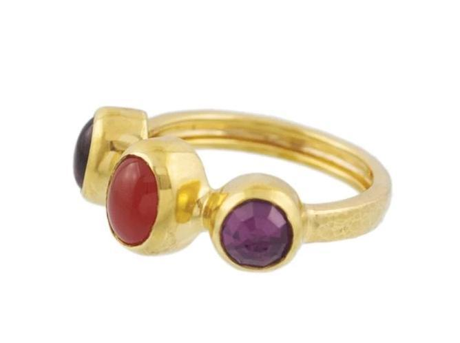 GURHAN One-of-a-Kind Pointelle Gold Ring, Multi-Stone with MultiStone-Ring-GURHAN-24k-gold-pure-gold-luxury-gold-24-karat-gold