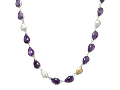 GURHAN One-of-a-Kind Galapagos Sterling Silver Necklace, All Around with Amethyst- and 'kissed' with 24k Gold.-Necklace-GURHAN-24k-gold-pure-gold-luxury-gold-24-karat-gold