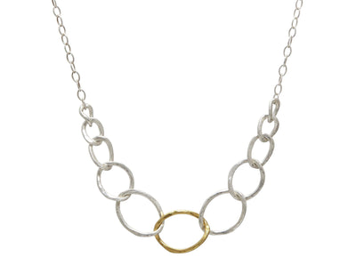 GURHAN Twist Sterling Silver Necklace, graduated linked Front Focus with No Stone- and 'kissed' with 24k Gold.-Necklace-GURHAN-24k-gold-pure-gold-luxury-gold-24-karat-gold