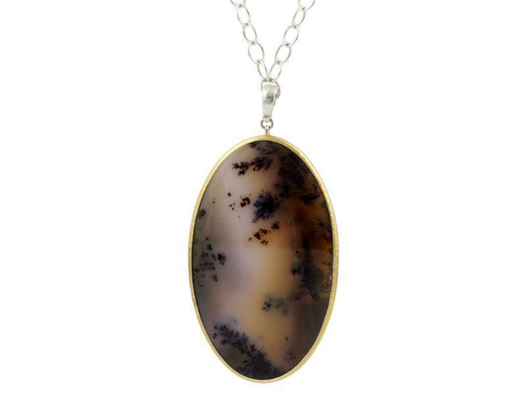 GURHAN Galapagos Sterling Silver Necklace, Pendant with Agate- and 'kissed' with 24k Gold.-Necklace-GURHAN-24k-gold-pure-gold-luxury-gold-24-karat-gold