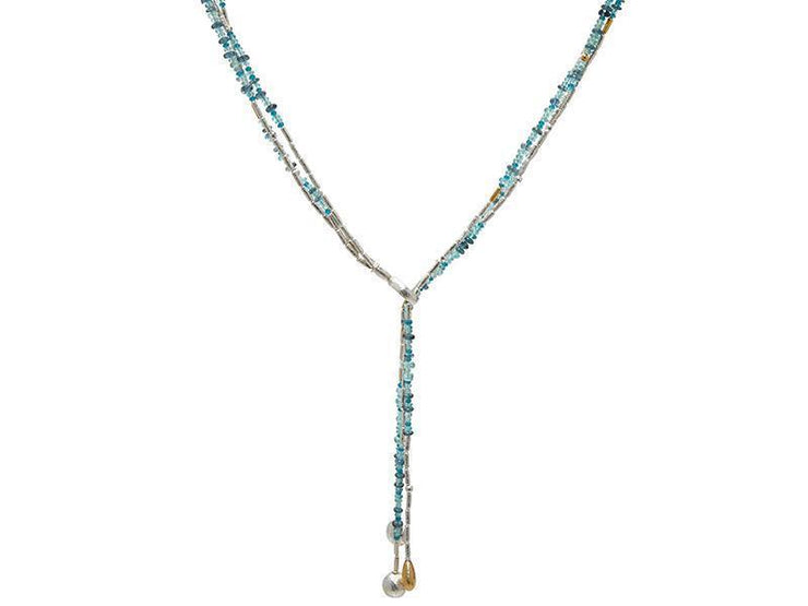 GURHAN Flurries Sterling Silver Necklace, Lariat with Apatite- and 'kissed' with 24k Gold.-Necklace-GURHAN-24k-gold-pure-gold-luxury-gold-24-karat-gold