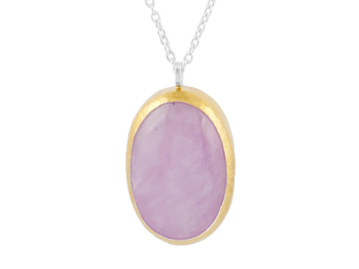 GURHAN Galapagos Sterling Silver Necklace, Pendant with Kunzite- and 'kissed' with 24k Gold.-Necklace-GURHAN-24k-gold-pure-gold-luxury-gold-24-karat-gold