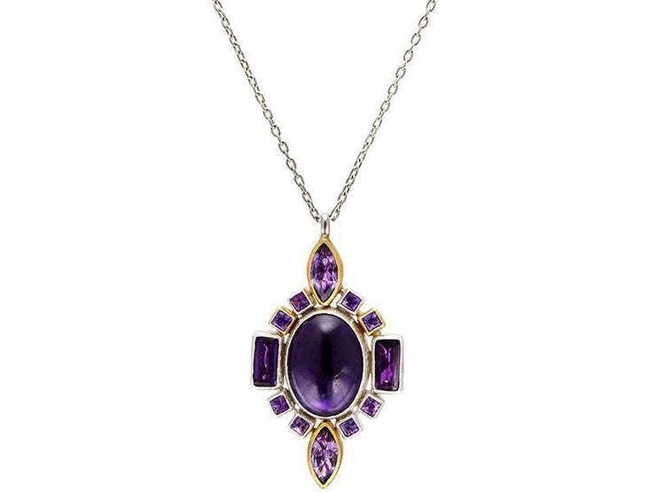 GURHAN Galapagos Sterling Silver Necklace, Pendant with Amethyst- and 'kissed' with 24k Gold.-Necklace-GURHAN-24k-gold-pure-gold-luxury-gold-24-karat-gold