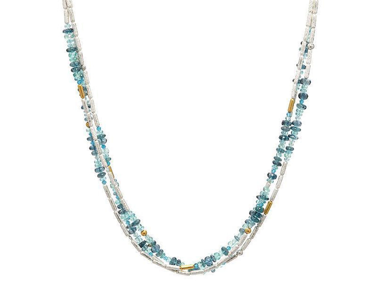 GURHAN Flurries Sterling Silver Necklace, Multi-Strand with Apatite- and 'kissed' with 24k Gold.-Necklace-GURHAN-24k-gold-pure-gold-luxury-gold-24-karat-gold