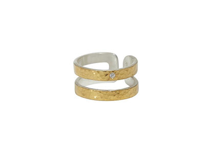 GURHAN Mango Sterling Silver Ring, Band with Diamond- and 'kissed' with 24k Gold.-Ring-GURHAN-24k-gold-pure-gold-luxury-gold-24-karat-gold