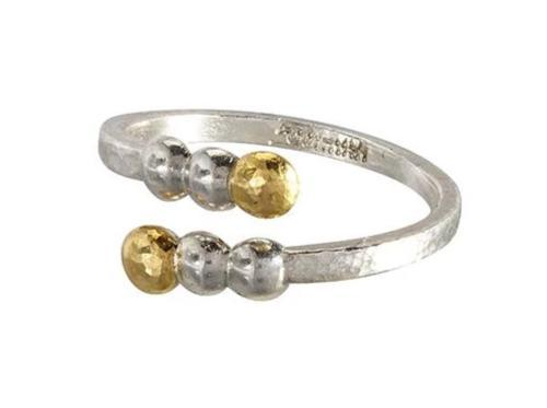 GURHAN Caviar Sterling Silver Ring, Bypass with No Stone- and 'kissed' with 24k Gold.-Ring-GURHAN-24k-gold-pure-gold-luxury-gold-24-karat-gold