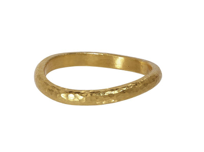 GURHAN Twist Sterling Silver Ring, vermeil Band with No Stone- and 'kissed' with 24k Gold.-Ring-GURHAN-24k-gold-pure-gold-luxury-gold-24-karat-gold