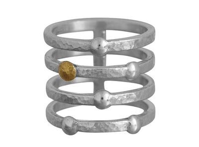 GURHAN Caviar Sterling Silver Ring, Band with No Stone- and 'kissed' with 24k Gold.-Ring-GURHAN-24k-gold-pure-gold-luxury-gold-24-karat-gold