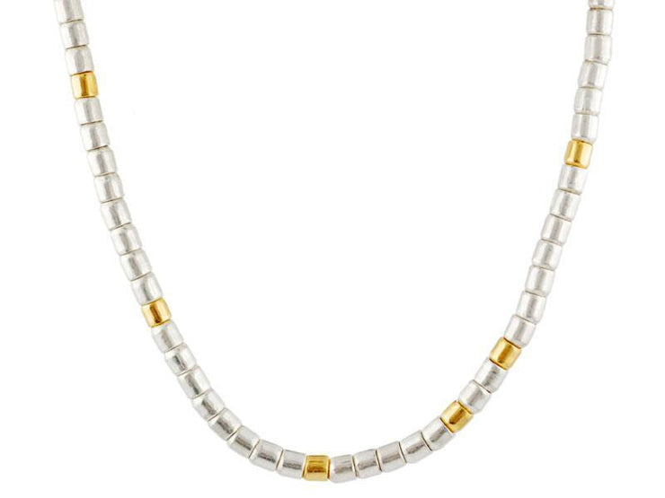 GURHAN Vertigo Sterling Silver Necklace, wide Single Strand with No Stone- and 'kissed' with 24k Gold.-Necklace-GURHAN-24k-gold-pure-gold-luxury-gold-24-karat-gold