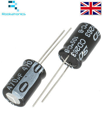 1uF-470uF Electrolytic Capacitor Range Rated 16 - 50V High Quality