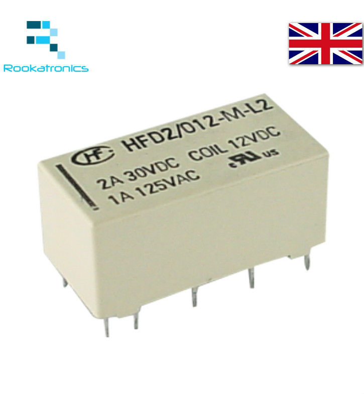 12V Double Coil Bistable Latching Relay DPDT 2A 30VDC 10 Pin  - High Quality