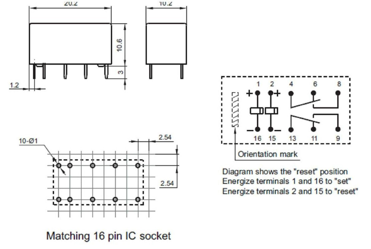 12v Double Coil Bistable Latching Relay Dpdt 2a 30vdc 10 Pin High 11 Wiring Diagram Quality