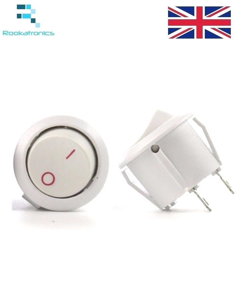 New 14mm Diameter 16mm Lip Small White Round Rocker Switch 2 Pin ON-OFF