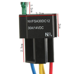 12-14V Relay 4 pin with Socket Base/Wires/fuse Included 30A Amp SPST High Quality