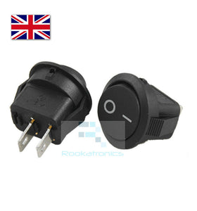 New 14mm Diameter 16mm Lip Small Round Rocker Switch Black 2 Pin ON-OFF