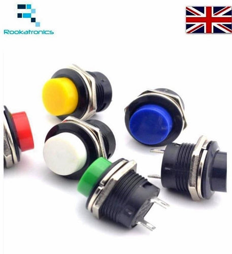 16mm Round Metal Push Button Momentary Switch Black White Red Green Blue Yellow