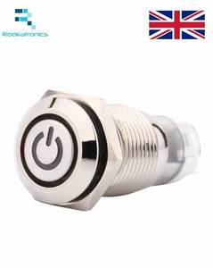 White Light Car Metal LED Push Button 16mm Switch Latching Angel Type On-Off