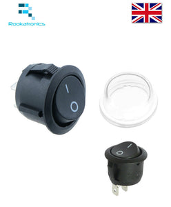 New 20mm Diameter Round Rocker Switch 2 Pin ON-OFF Optional Waterproof Cover