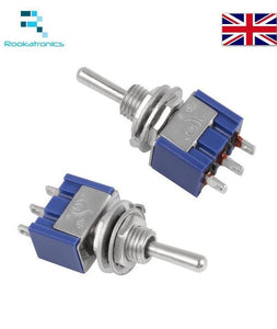 Miniature Toggle Switch 3 Pin ON/ON SPDT 6A 125VAC/3A 250VAC