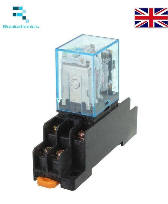 12V DC 8 Pin Relay DPDT with Socket Base Included High Quality