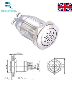 16mm Continuous Sound Buzzer 12V Stainless Steel Quality Connections