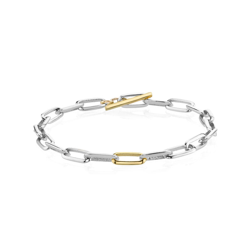 Mixed Metal Toggle and Link Knife Edge Bracelet