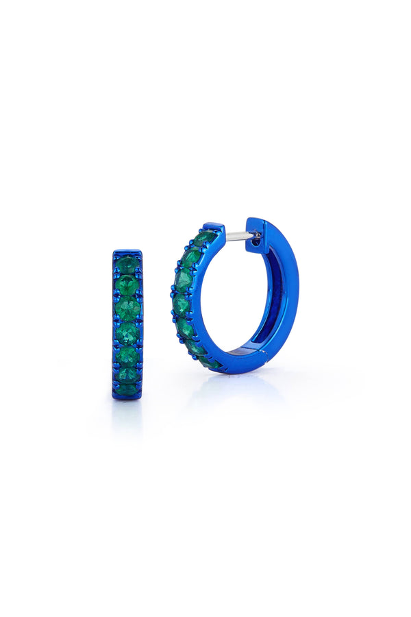 Emerald Mini Hoops with Blue Rhodium