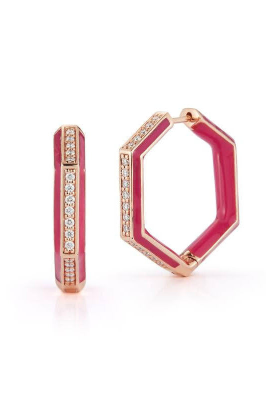 Diamond and Pink Enamel Hexagonal Hoops