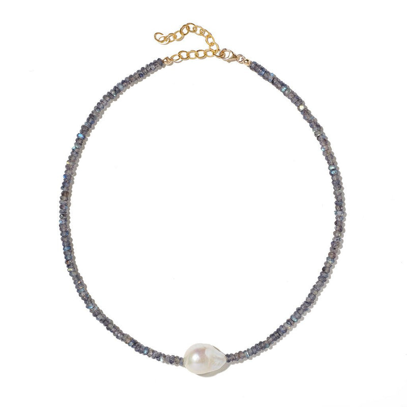 Baroque Pearl Gemstone Necklace (more colors)