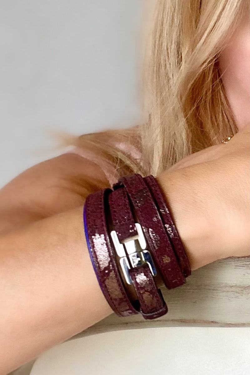 Cassandre Burgundy Leather & Steel Bracelet & Belt