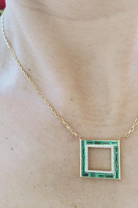 Emerald and Diamond Origami Necklace