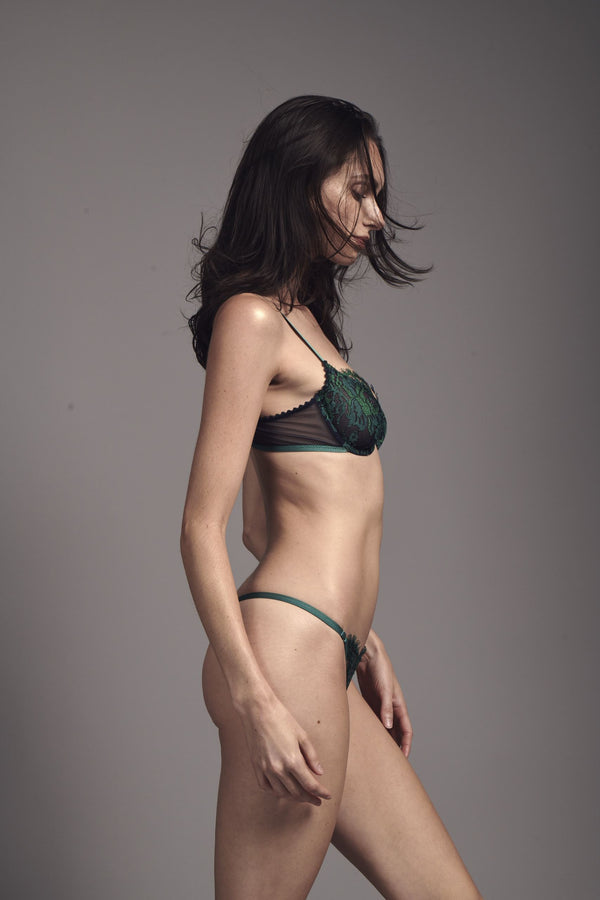 Jasmin Lace Emerald Thong