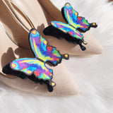 Rainbow peacock Butterfly, wedding shoe clips
