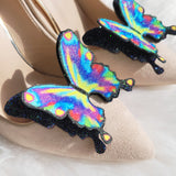Rainbow peacock Butterfly wedding shoe