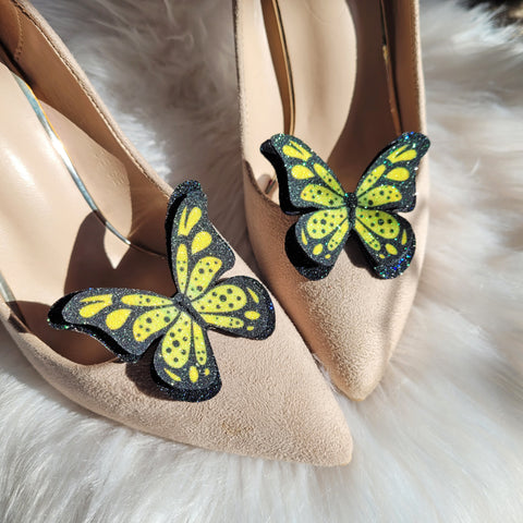 Lemon butterfly, shoe clips