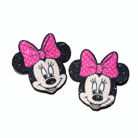 Minnie Mouse Disney, hair clips, real glitter and natural leather for girls
